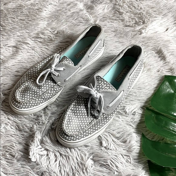 Sperry top sider grey polka dot shoes size 9